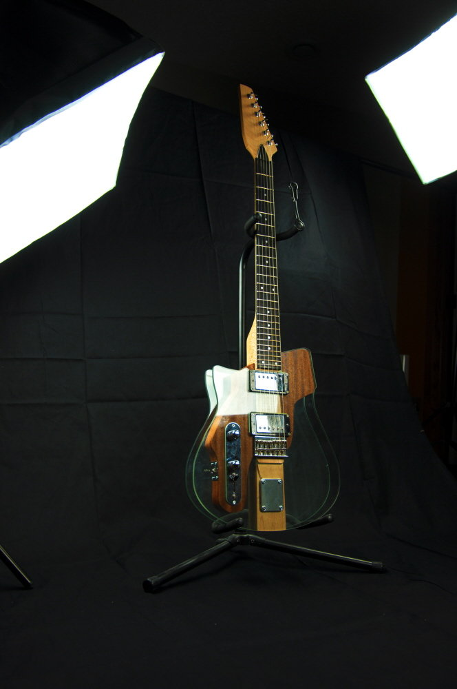A glass guitar designed and built for a product design class